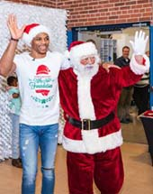 Russell Westbrook and Santa. Photo by: Zach Beeker