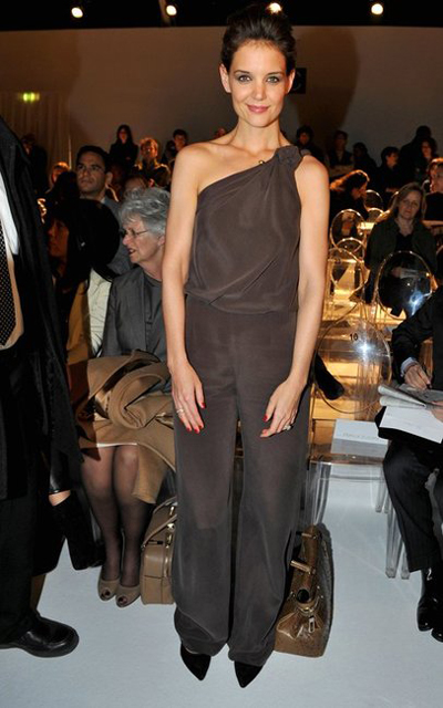 Katie Holmes in Max Mara pre-fall 2011 one shoulder jumpsuit