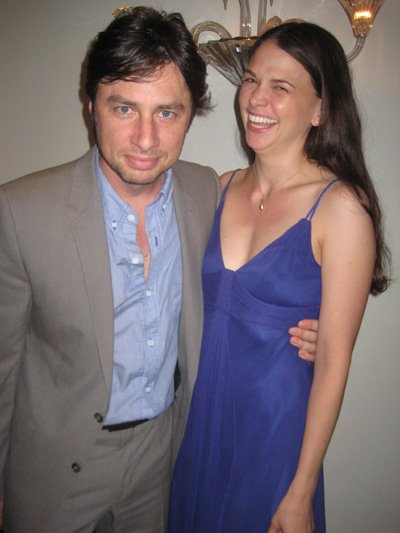 06-16-10 Zach Braff and Sutton Foster after her cabaret debut performance at Cafe Carlyle. 35 East 76th St. Tuesday night 06-15-10