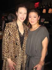 "04-09-14 The cast members (L-R) Veanne Cox. Jennifer Lim at the opening night party for ""The Most Deserving"" at Brasserie Cognac. 1740 Broadway. Tuesday night. 04-08-14.  Photo by:  Aubrey Reuben"