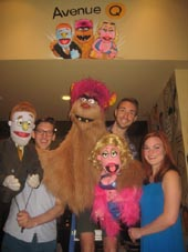 "08-26-16 Cast members (L-R) puppet Rod and Ben Durocher. puppet Trekie and Jason Jacoby. puppet Lucy and Elizabeth Ann Berg at a cariacature (above) presentation for ""Avenue Q"" at the Palm Restaurant. 250 West 50th St. Thursday afternoon. 08-24-16.  Photo by:  Aubrey reuben"