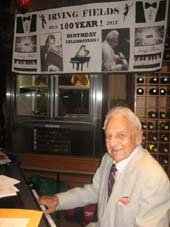 08-06-15 Legendary pianist Irving Fields celebrates his 100th birthday at Nino's Tuscany Steakhouse. 117 West 58th St, Wednesday night. 08-05-15.  Photo by:  Aubrey Reuben
