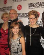 12-09-14 (L-R) Host Julie Halston. performers Michael Cerveris. Sydney Lucas. Lisa Kron. Lindsay Mendez. Alice Ripley at the Transport Group Theatre Company Gimme a Break! Gala at the Asia Society. 725 Park Avenue. Monday night. 12-08-14.  Photo by:  Aubrey Reuben
