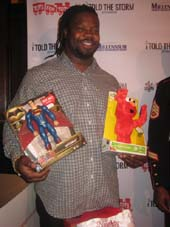 "12-24-16 New York Giant Damon ""Snacks"" Harrison at a VIP reception for his charity I Told The Storm Foundation. The 1st Annual U.S. Marines Toys for Tots Holiday Toy Drive at Bobby Van's Steakhouse. 135 West 50th St..  Photo by:  Aubrey Reuben"
