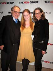 "01-29-14 (L-R) Father Alan Dershowitz. cast member Ella Dershowitz. mother Carolyn Cohen at the opening night party for ""Intimacy"" at Rosebud NYC in the Out Hotel. 510 West 42nd St. Monday night 01-28-14.  photo by:  aubrey reuben"