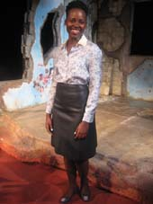 "02-12-16 Cast member Lupita Nyong'o of ""Eclipsed"" poses for a photo on the set at the Golden Theatre. 252 West 45th St. Thursday morning. 02-11-16.  Photo by:  Aubrey Reuben"