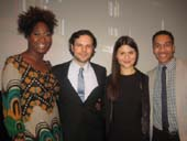01-07-14 Finalists for the Theatre Award (L-R) Amber Iman. Winner Jonny Orsini. Phillipa Soo. Aaron Clifton Moten at the Fourth Annual Clive Barnes Awards at the Walter Reade Theater. .  Photo by:  aubrey reuben