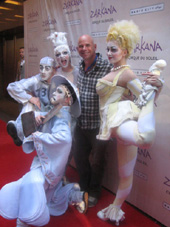 "06-30-11 Cirque du Soleil Founder Guy Laliberte with four ""Zarkana"" performers at Radio City Music Hall. Sixth Ave and 50th St. for the opening night of the new Cirque du Soleil ""Zarkana"". Wednesday night 06-29-11"
