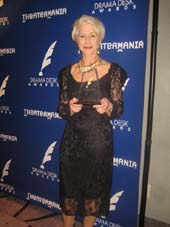 06-01-15 Winner of the Outstanding Actress in a Play Helen Mirren at the 60th Annual Drama Desk Awards at the Marriott Marquis Manhattan Ballroom: Press Room. 1535 Broadway. Sunday night. 05-31-15.  Photo by:  Aubrey Reuben