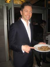 03-11-15 Television personality and culinary master Gianaluca Mech. creator of Dieta Tisanoreica. with a plate of his fusilli. at a US product launch. tasting and cocktail reception at the Hudson Terrace. 25 West 51st St. Tuesday night. 03-10-15.  Photo by:  Aubrey Reuben