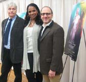 "03-18-14 (L-R) Playwright Lanie Robertson. cast member Audra McDonald. director Lonny Price at a photo op. for ""Lady Day at Emerson's Bar & Grill"" at Pearl Studios. 500 Eighth Ave. Monday morning 03-17-14.  Photo by:  Aubrey Reuben"