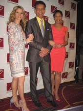 05-15-15 (L-R) Kelli O'Hara. honoree Brian Stokes Mitchell. wife Allyson Tucker at the New Dramatists 66thh Annual Luncheon honoring Brian Stokes Mitchell at the New York Marriott Marquis. Thursday morning. 05-14-15.  Photo by:  Aubrey Reuben