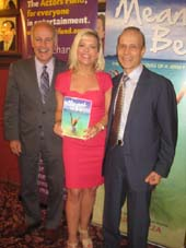 "05-22-14 (L-R Joe Benincasa. Lauren Pizza. husband Joe Pizza at the Actors Fund Book Launch party for Lauren Pizza's ""Meant to Be: The Lives and Loves of a Jersey Girl"" at Sardi's. 234 West 44th St. Wednesday evening. 05-21-14.  Photo by:  Aubrey Reuben"