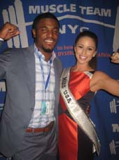 11-11-14 NY Giant Kevin Ogletree and Miss USA Nia Sanchez at the Kickoff VIP reception of the Muscular Dystrophy Association (MDA) 18th Annual Muscle Team Gala and Auction at the Lighthouse at Chelsea Piers. West 23rd St and the Hudson River. Monday night 11-10-14.  Photo by:  Aubrey reuben