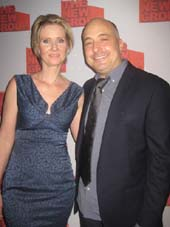"11-19-15 Director Cynthia Nixon and playwright Mark Gerrard at the opening night party for ""Steve"" at the West Bank Cafe. 407 West 42nd St. Wednesday night. 11-18-15.  Photo by:  Aubrey Reuben"