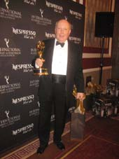 11-24-15 Winner The Founders Award Julian Fellowes at the International Emmy Awards at the New York Hilton Hotel. 1335 Avenue of the Americas. Monday night. 11-23-15.  Photo by  Aubrey Reuben
