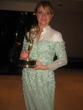 11-25-14 Dutch actress Bianca Krijgsman with her Emmy for Best Performance by an Actress in De Nieuwe Wereld (The New World) at The International Emmy Awards at the New York Hilton Hotel. 1535 Avenue of the Americas. Monday night..  Photo by:  Aubrey reuben