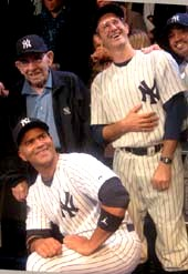 "10-08-13 (L-R) (Standing) Legendary former New York Yankee Yogi Berra. cast members Richard Topol who plays Yogi. kneeling Christopher Jackson at the opening night for ""Bronx Bombers"" at The Duke on West 42nd St. Tuesday night 10-08-13.  photo by:   aubrey reuben"