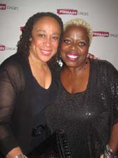 "10-13-14 Cast members S. Epatha Merkerson (L) and Lillias White at the opening night party for ""While I Yet Live"" at Casa Nonna. 310 West 38th St. Sunday night.10-12-14.  Photo by:  Aubrey reuben"