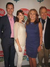 "09-10-15 Cast members (L-R) George Merrick. Kate Wetherhead. Marlo Thomas. Greg Mullavey of ""Clever Little Lies"" at a photo op. at the Westside Theatre. 407 West 43rd St. .  Photo by:  Aubrey Reuben"