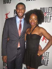 "08-09-12 Cast members Tyler Jacob Robinson (L) and Marsha Stephanie Blake at the opening night party for ""Bullet for Adolf"" at Hurleys's. 232 West 48th St."