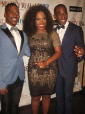 "09-15-14 (L-R) Co-Creator Kendrell Bowman. producer Sheryl Lee Ralph. Co-Creator/ and star Anthony Wayne at the opening night party for ""Mighty Real: A Fabulous Sylvester Musical"" at The Grand Hall at the Theatre of St Clement's. 423 West 46th St. Sunday night. 09-14-14.  photo by Aubrey Reuben"