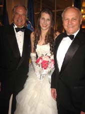12-24-14 (L-R) Father Stewart F. Lane. Debutante Miss Leah Lane. grandfather Jim Comley at the 60th International Debutante Ball at the Waldorf Astoria Hotel. Park Avenue and 50th Street. Monday night 12-29-14 .  Photo by:  Aubrey Reuben