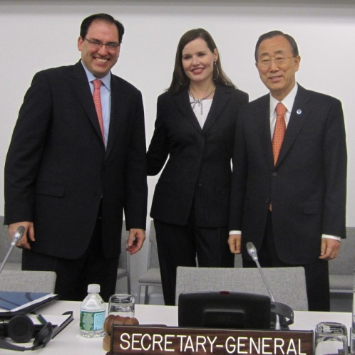 Stephen Jordan, U.S. Chamber BCLC Founder & Executive Director; Geena Davis, Academy Award Winner & Founder of the Geena Davis Institute on Gender in Media; Ban Ki-moon, UN Secretary-General