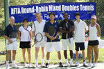 Top right, 2010 exhibition players, the world-ranked Fred Drilling and Elise Burgin, ABC 7 newsman Bob Ryan, Republic of Korea's Olympic captain Chi Wan Kim, Davis Cup player H'Cone Thompson, nationally ranked junior Jordan Portner, and ITF ranked Hai-Li Kong