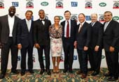 Muhammad Wilkerson, Joe Namath, Victor Cruz, Sheena Wright,William E. Mayer, William Flemming, Robert J. Kueppers and Joe Cabrera.  Photo by:  Martin Dixon