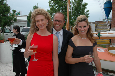 Katherine (in red) and Bill Morong, owners of Yachting Solutions, and IYRS Trustee Martha Coolidge. Photo by:  Jay Picotte