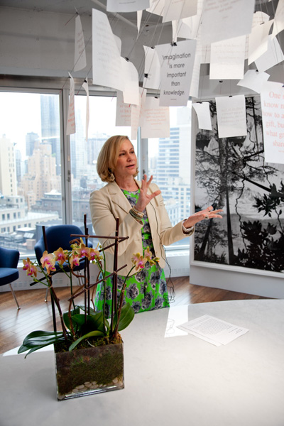 Laurie M. Tisch speaks about Green Carts at the Illumination Fund gallery and reception for Aperture photographers