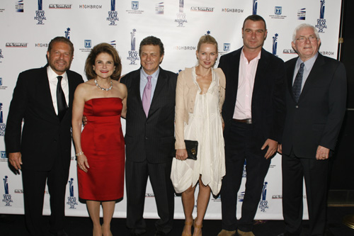 Emcees Mike Burstyn & Tovah Feldshuh, IFF Founder Meir Fenigstein, Naomi Watts, 2011 IFF Honoree Liev Schrieber, and presenter Phil Donahue at the Opening Night Gala for the 25th Israel Film Festival at the