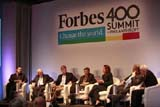 Randall Lane (Editor, Forbes) as panel moderator; panelists Warren Buffett, Steve Case, Bill Gates, Melinda Gates, Leon Black, David Rubenstein. Photo Credit: Glen Davis