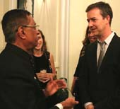 Edward Norton and Ambassador Dnyaneshwar Manohar Mulay.  Phoot by:  Lesly Weiner Photography