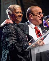 Dionne Warwick Inducts Clive Davis into the Long Island Music Hall of Fame at their red-carpet fundraising Gala Awards Induction Ceremony at The Paramount Theater in Huntington, L.I., October 23rd.    Photo by:  Vicky Jauron Babylon and Beyond Photography