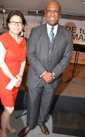 Sheri Yan, Executive Vice Chairman, Global Sustainable Development Foundation and Dr. John Ashe, Founder and Honorary Chairman of Global Board of the Global Sustainable Development Foundation, and the 68th President of the UN, General Assembly .  Photo by:  Rose Billings/Blacktiemagazine.com