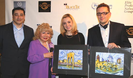 Artist Juan Fernando Silva, Gloria T. Cressler, Sabina Klemik and Wojciech Trocewicz receiving there award painting of New York