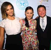 Jessica Alba , Mira Lee, Brian Lee.  Photo by:  Vince Bucci