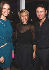 Actress Hilary Swank, Bonnie Clearwater and Ruben Torres attend the Vanity Fair And NSU Art Museum's Private Dinner Hosted By Bob Colacello And Bonnie Clearwater In Honor Of Douglas S. Cramer at Juvia on December 2, 2015 in Miami Beach, Florida.