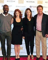 the cast of Lifetime's ARMY WIVES reunited at the Sherman Oaks ArcLight Theatre for the LA premiere screening event of Link TV's SEARCHING FOR HOME: COMING BACK FROM WAR exploring the harrowing effects of PTSD on military familiesafter veterans return from combat. Pictured left to right, KCET & Link TV President Michael Riley, Sterling Brown, Brigid Brannagh, Kim Delaney, Brian McNamara , and New Directions for Veterans President Gregory C. Scott