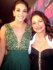 "11-06-15 Cast member Ana Villafane (L) and Gloria Estefan at the opening night party for ""On Your Feet!"" at the Marriott Marquis Hotel. 1535 Broadway..  Photo by:  Aubrey Reuben"