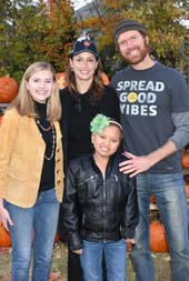 Bridget Moynahan, local CT hero Mackenzie Page Zoe McMorran and Life is Good co-founder John Jacobs support The Hole in the Wall Gang Camp in Newtown, CT on 10/30/15. (Photo by: Lauren Sorenson / Life is Good)
