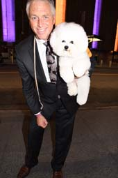 Flynn The Bichon Frise Top Dog at The 142 Westminster 2018 Top Dog with his Expert Handler Bill McFadden.  Photo by:  Rose Billings/Blacktiemagazine.com