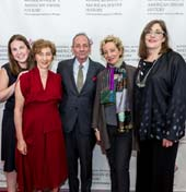 Ivy Weingram, Associate Curator, National Museum of American Jewish History; Honorees Nina Bernstein Simmons, Alexander Bernstein, and Jamie Bernstein; and Ivy Barsky, CEO and Gwen Goodman Director, National Museum of American Jewish History at the Museum�s 2018 Only in America Gala in New York City, celebrating Leonard Bernstein�s legacy. The event was held at the Mandarin Oriental on May 22, 2018.