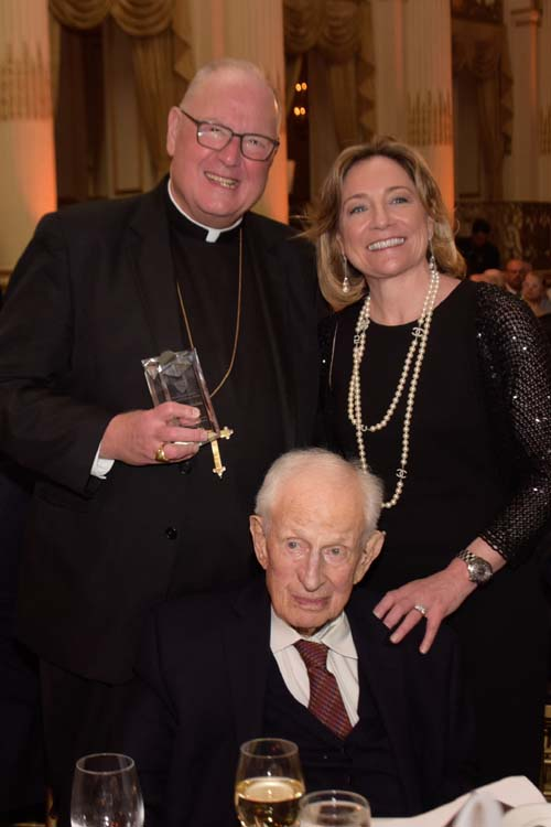 Hon. Robert M. Morgenthau, Former District Attorney New York County & of Counsel at Wachtell, Lipton, Rosen & Katz,  Timothy Michael Cardinal Dolan, Archbishop of New York and Katy Knox, President, U.S. Trust, Bank of America Private Wealth Management……..photo credit Jill Nelson
