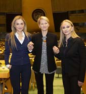 UNWFPA?s Treasurer Michal Grayevsky, UN Women?s Resource Mobilization and Advocacy Manager Vesna Jaric, UNWFPA?s President Barbara Winston