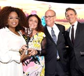 Oprah Winfrey is awarded the Inaugural Statue of Liberty-Ellis Island Award by Diane von Furstenberg, The Statue of Liberty-Ellis Island Foundation President and CEO Stephen Briganti and Seth Meyers at the Statue Of Liberty Museum Opening Celebration on May 15, 2019 at Ellis Island in New York City.