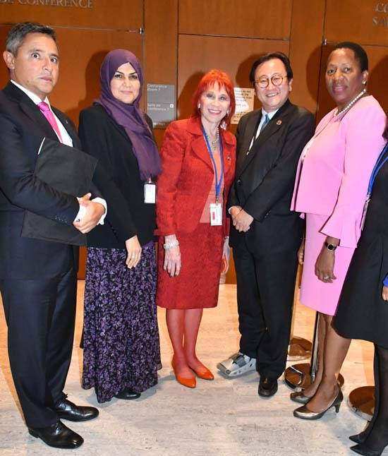 Jorge Castel Branco Soares, Counselor, Mission of Portugal to the UN; Dr. Radheya AlHashimi, UAE Director of the Policy Impact Department; Dr. Judy Kuriansky; Ambassador Toshiya Hoshinoof the UN Japan Mission; Ambassador Pennelope Beckles of UN Mission of Trinidad and Tobago
