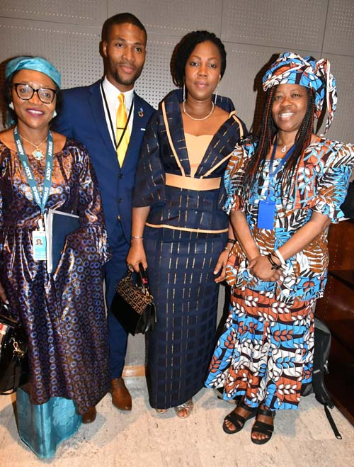 Ambassador Victoria Sulimani, Deputy Permanent Representative of the Mission of Sierra Leone to the UN; Youth delegate Isaac Bayoh; First Lady of Sierra Leone; Finda Senesi, Counsellor, UN Mission of Sierra Leone